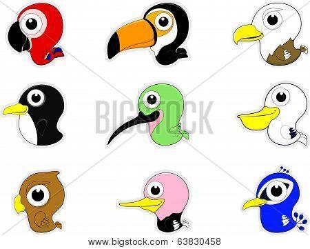 Cartoon Birds Icon Set