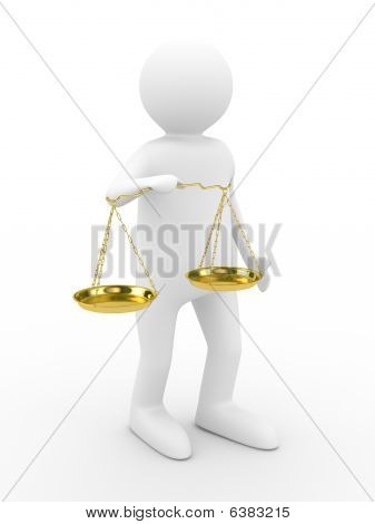 Person With Scales On White Background. Isolated 3D Image