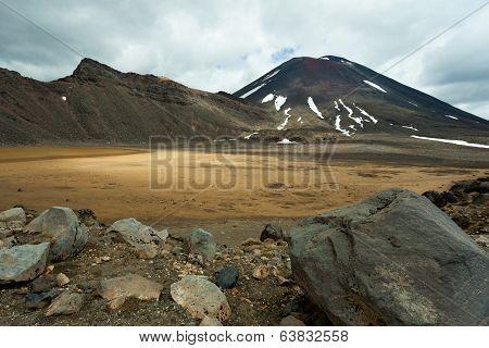 Active Volcanoe Cone Mount Ngauruhoe New Zealand