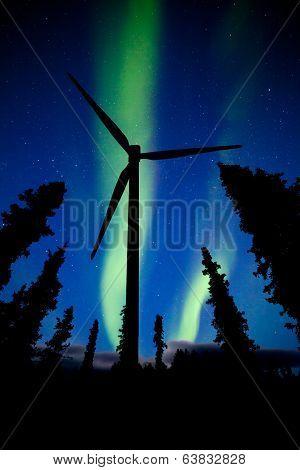 Northern Lights Night Sky Wind Turbine Silhouette