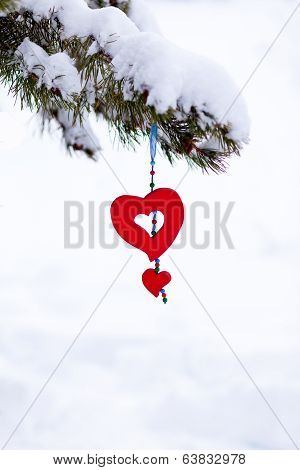 Red Heart Snowy Christmas Tree Ornament Isolated