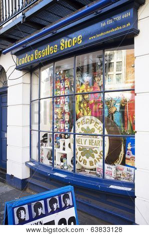 LONDON, UK - APRIL 15, 2014: London Beatles Store located on Baker Street, selling products and memorabilia related to The Beatles.