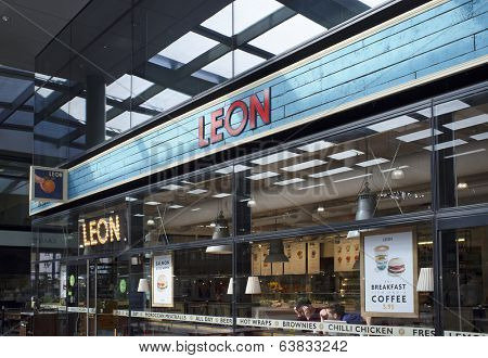 LONDON, UK - APRIL 15, 2014: Leon is a restaurant group, based in London, specialising in seasonal, locally sourced fast-food.