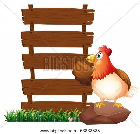 Illustration of a hen beside the empty signboards on a white background