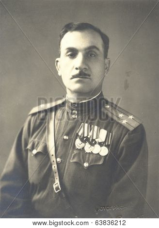 studio photo portrait Colonel of the Soviet Army awarded two ORDERS OF THE RED BANNER