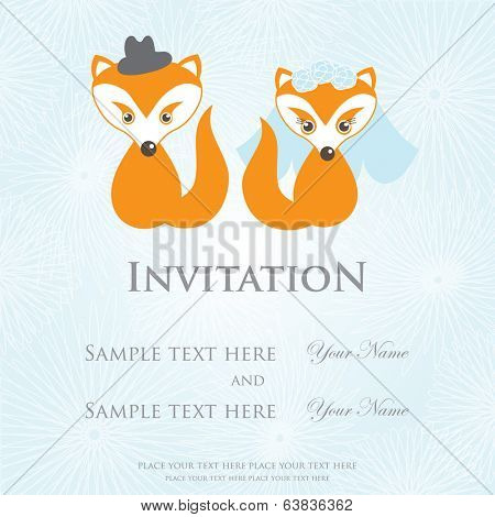 Wedding invitation card with cartoon foxes in a bride and groom costumes