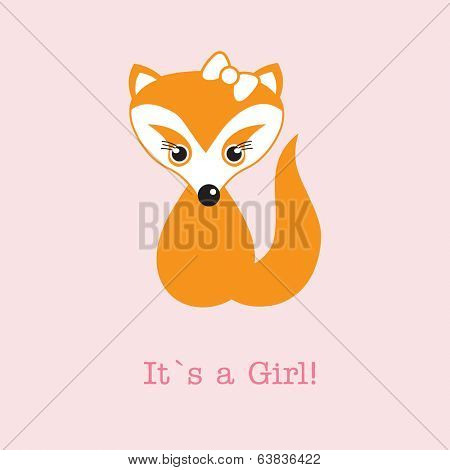 Baby girl shower card with cute fox