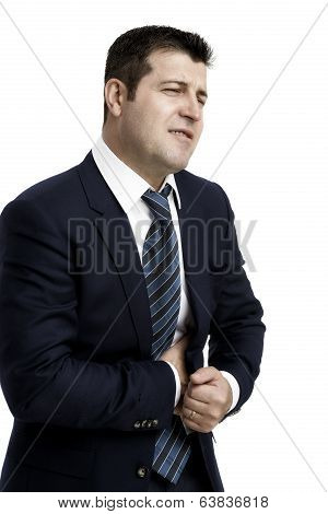 Businessman With Strong Stomach Pain Isolated On White Background