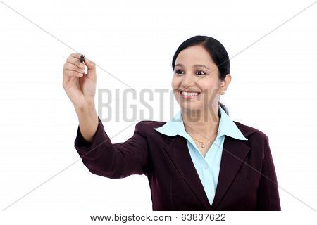 Business Woman Writing With Pen On Virtual Scree