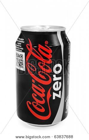 BARCELONA, SPAIN - MARCH 26, 2014: A can of Coca-Cola Zero on a white background