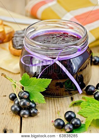 Jam Blackcurrant With A Napkin On Board