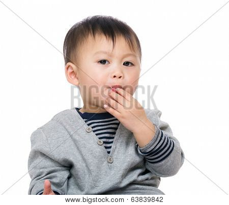 Kid snacking on cracker