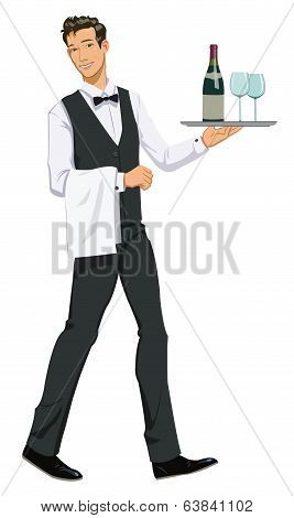 waiter with a tray