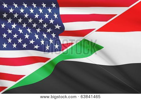 Series Of Ruffled Flags. Usa And Republic Of The Sudan.
