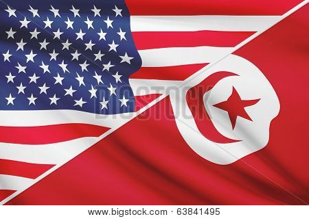 Series Of Ruffled Flags. Usa And Tunisia.