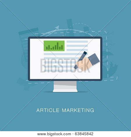 Flat internet article and newsletter marketing vector illustration