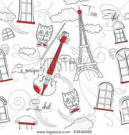 White seamless pattern with music and city