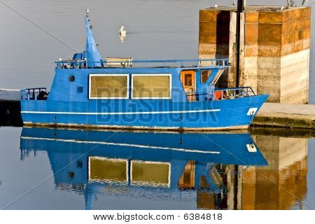 Greek small ship at lake Kerkini in Greece