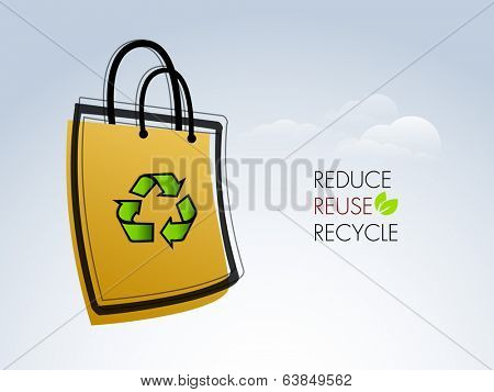 World Environment Day concept with recycle symbol with text Reduce, Reuse and Recycle and shopping bag on grey background.