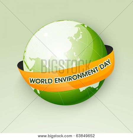 Shiny mother earth globe wrapped in a orange ribbon with text World Environment Day, Save the earth concept.