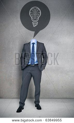 Composite image of headless businessman with brain bulb in speech bubble in grey room