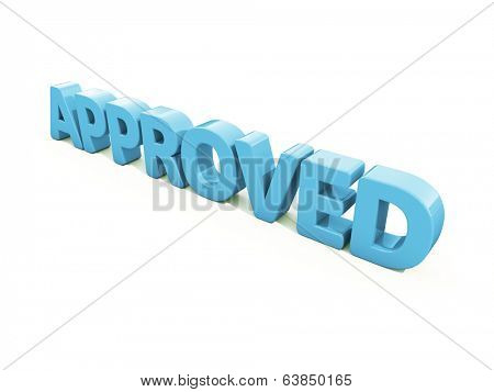 Approved icon on a white background. 3D illustration