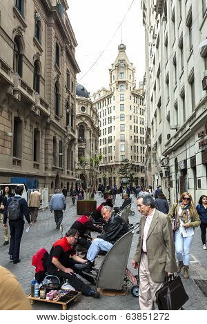 Santiago De Chile, Busy Street In The City Center, People In Everyday Situations