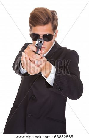 Secret Agent Aiming With Gun
