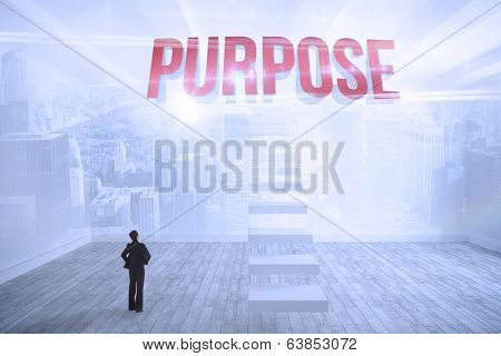 The word purpose and businesswoman with hands on hips against city scene in a room