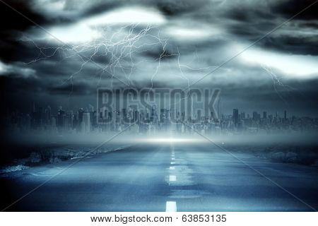 Digitally generated stormy sky with tornado over road