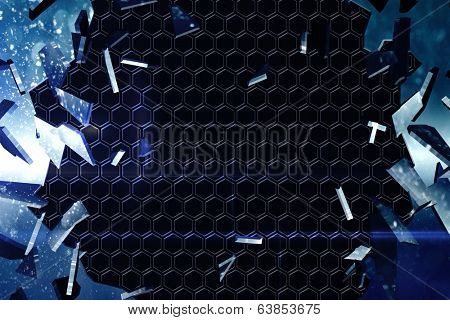 Digitally generated glass shattering to show dark pattern