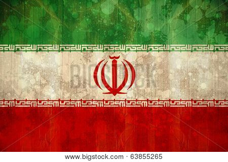 Digitally generated Iran flag in grunge effect