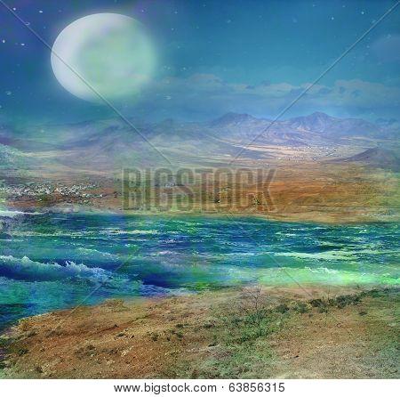 Fantastic Landscape At Night