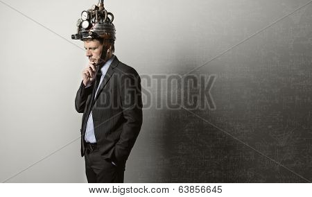Businessman With Steampunk Helmet
