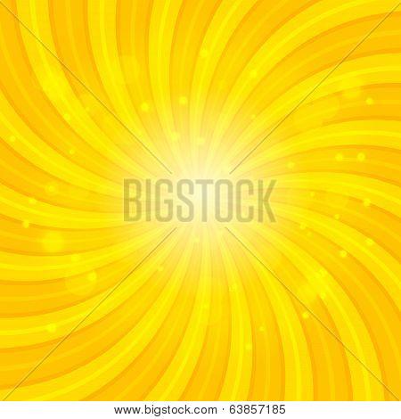 Orange Sun hypnotic background. Vector illustration