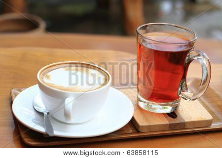 Cup of mocha coffee and glass of  tea