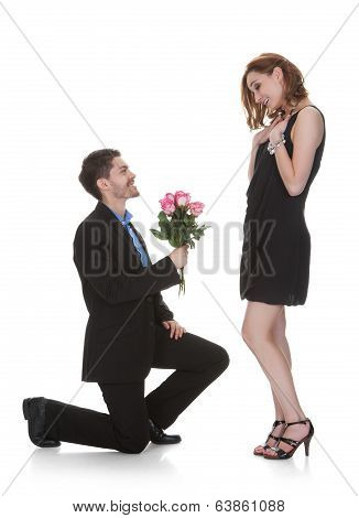 Man Offer Flower To Beautiful Woman