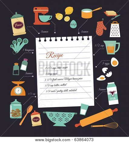 Chalkboard meal recipe template vector design with food icons and ...