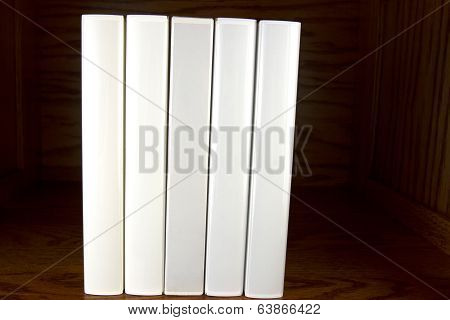 Blank White Books on Shelf