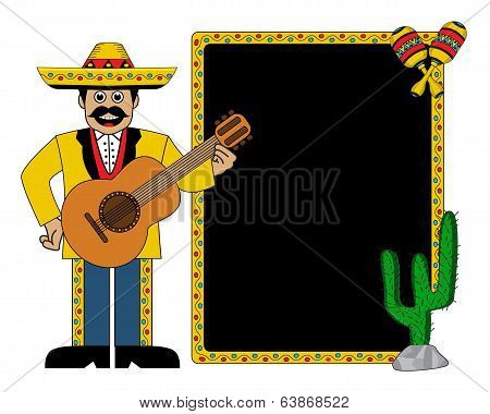 Hispanic man wearing a hat and with a guitar