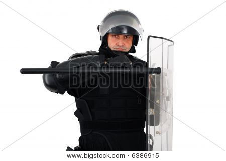 Riot Policeman Defense Pose