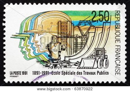 Postage Stamp France 1991 School Of Public Works