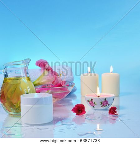 hygiene and spa treatment  on blue background