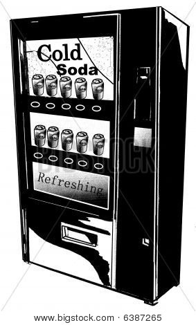 B&W Illustration isolated Vending Machine