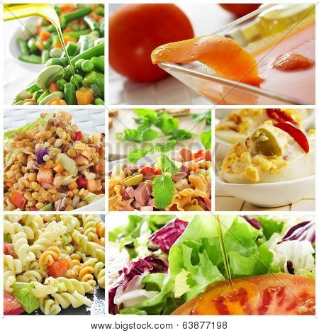 a collage of different salads, such as pasta salad or lentil salad, and eggs mimosa and gazpacho