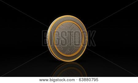 Digital Currency Money Coin Dark Background 45 Degree