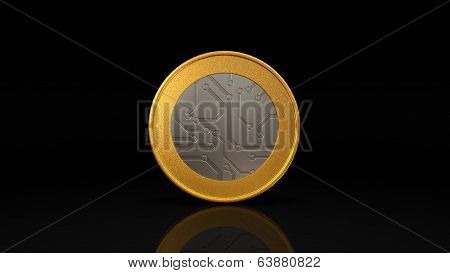 Digital Currency Silver Gold Coin Dark