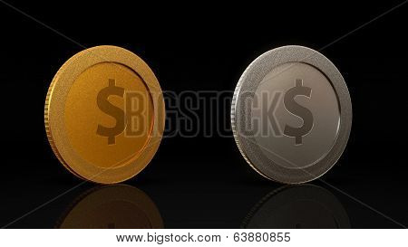 Dollar Currency Coins Exchange Dark 45 Degree