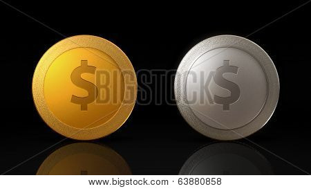 Dollar Currency Coins Exchange Dark