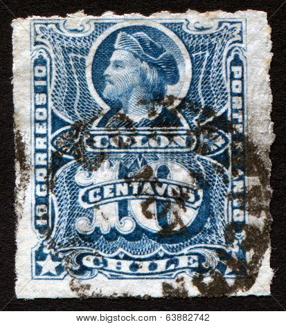 CHILE, CIRCA 1878: Chile 5c Blue Columbus Colon Stamp showing bust of Christopher Columbus, circa 1878